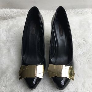 Louis Vuitton Black Patent Leather Wedge Pumps 36